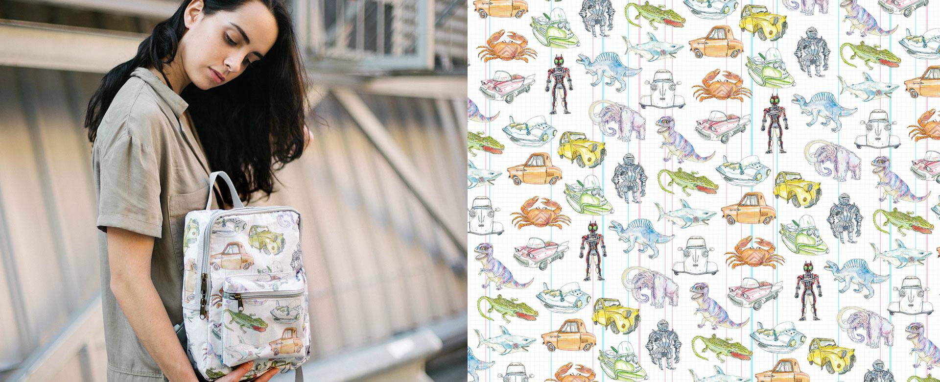 Mochilas y complementos con ilustraciones de Lapin hechas con cometas de kitesurf recicladas